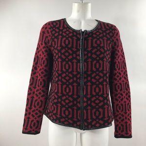Women's red Chico's zip-up jacket size 1